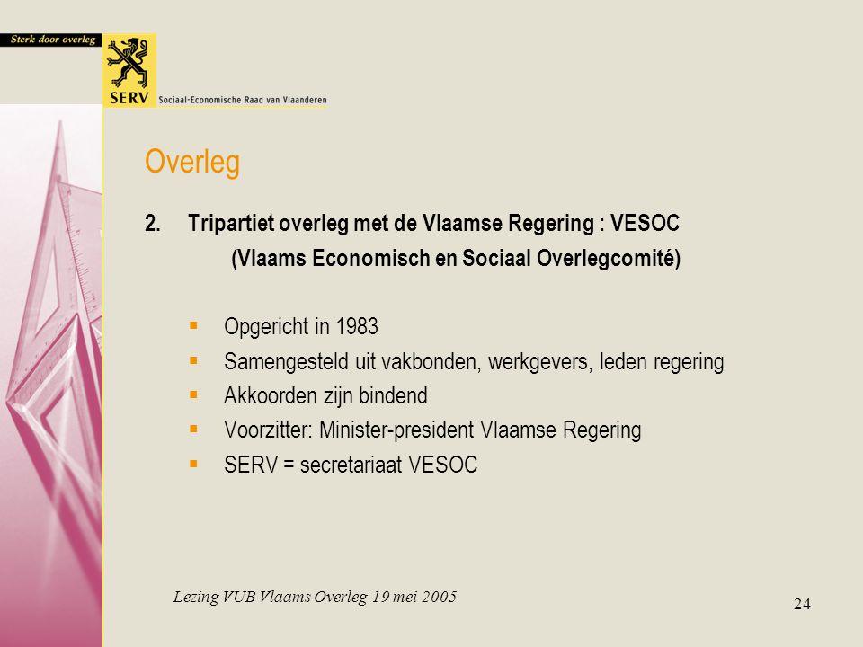 Lezing VUB Vlaams Overleg 19 mei 2005 24 Overleg 2.Tripartiet overleg met de Vlaamse Regering : VESOC (Vlaams Economisch en Sociaal Overlegcomité)  O