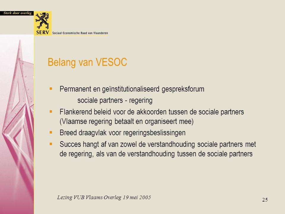Lezing VUB Vlaams Overleg 19 mei 2005 25 Belang van VESOC  Permanent en geïnstitutionaliseerd gespreksforum sociale partners - regering  Flankerend