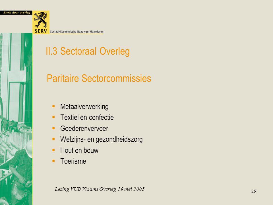 Lezing VUB Vlaams Overleg 19 mei 2005 28  Metaalverwerking  Textiel en confectie  Goederenvervoer  Welzijns- en gezondheidszorg  Hout en bouw  T