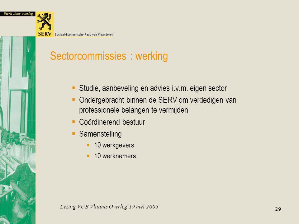 Lezing VUB Vlaams Overleg 19 mei 2005 29  Studie, aanbeveling en advies i.v.m. eigen sector  Ondergebracht binnen de SERV om verdedigen van professi