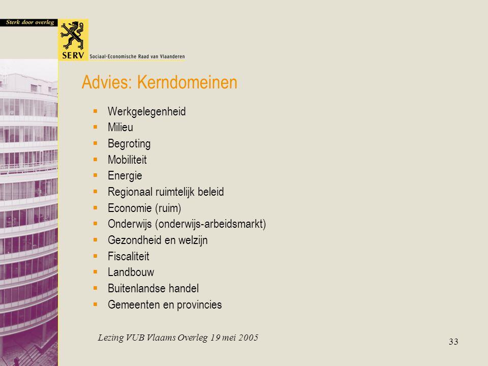 Lezing VUB Vlaams Overleg 19 mei 2005 33  Werkgelegenheid  Milieu  Begroting  Mobiliteit  Energie  Regionaal ruimtelijk beleid  Economie (ruim)
