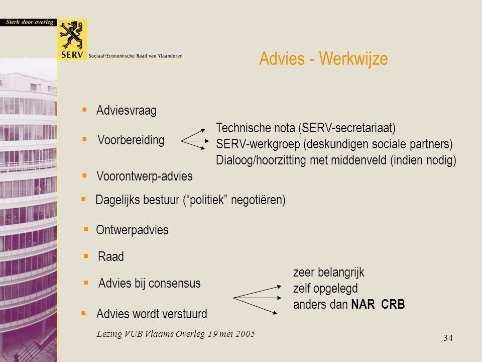 Lezing VUB Vlaams Overleg 19 mei 2005 34 Advies - Werkwijze  Adviesvraag zeer belangrijk zelf opgelegd anders dan NAR CRB Technische nota (SERV-secre