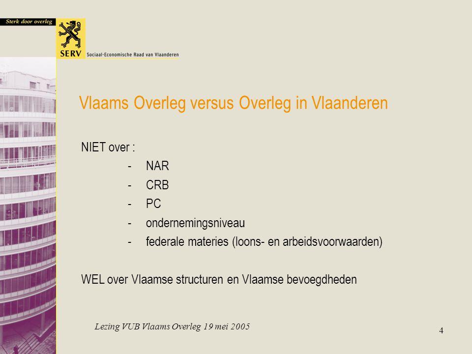 Lezing VUB Vlaams Overleg 19 mei 2005 4 Vlaams Overleg versus Overleg in Vlaanderen NIET over : -NAR -CRB -PC -ondernemingsniveau -federale materies (