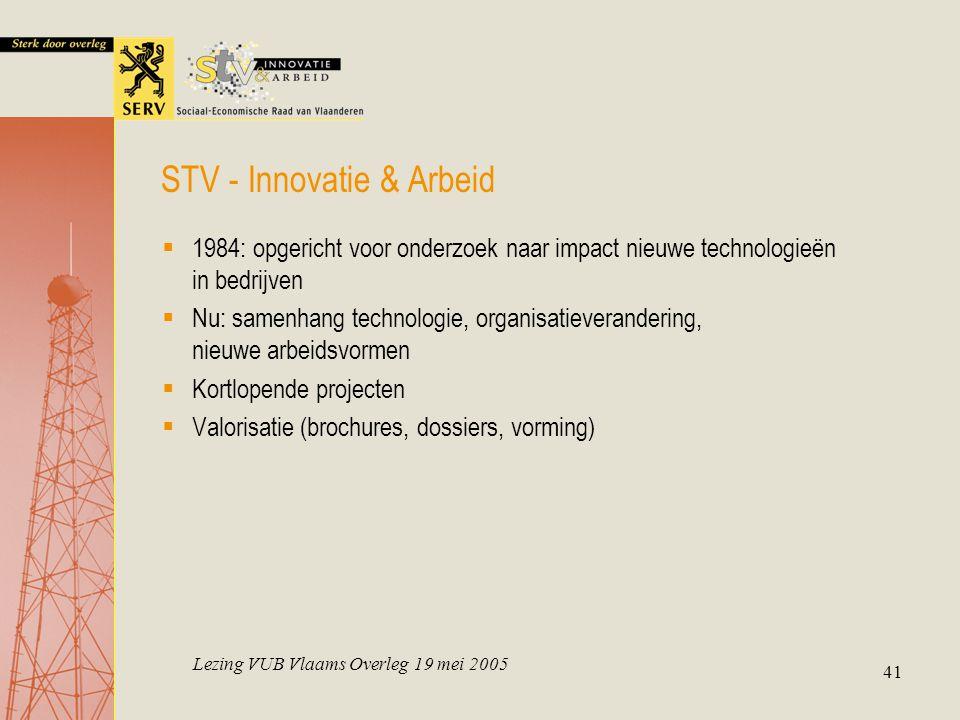 Lezing VUB Vlaams Overleg 19 mei 2005 41  1984: opgericht voor onderzoek naar impact nieuwe technologieën in bedrijven  Nu: samenhang technologie, o