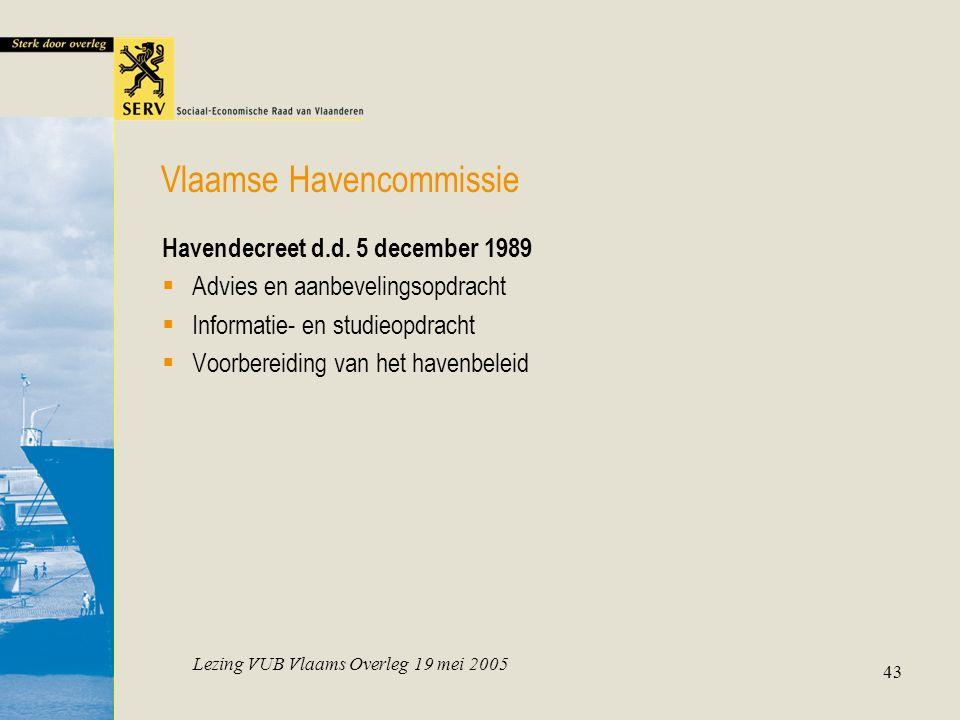 Lezing VUB Vlaams Overleg 19 mei 2005 43 Havendecreet d.d.