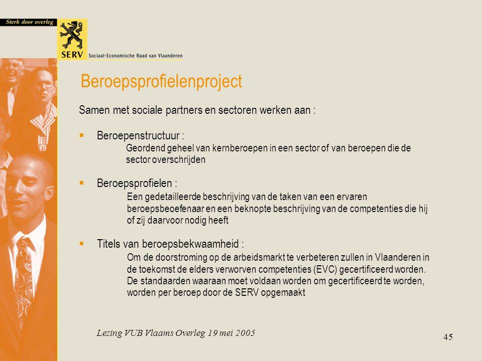 Lezing VUB Vlaams Overleg 19 mei 2005 45 Samen met sociale partners en sectoren werken aan :  Beroepenstructuur : Geordend geheel van kernberoepen in