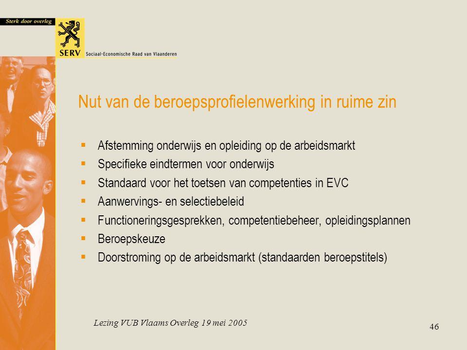 Lezing VUB Vlaams Overleg 19 mei 2005 46 Nut van de beroepsprofielenwerking in ruime zin  Afstemming onderwijs en opleiding op de arbeidsmarkt  Spec