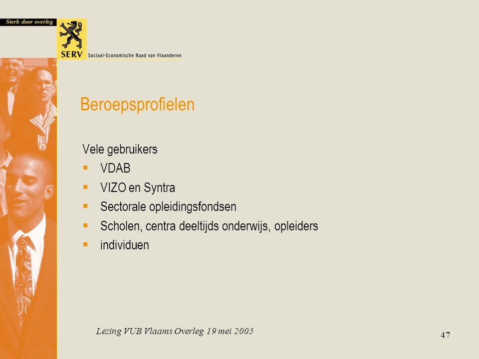 Lezing VUB Vlaams Overleg 19 mei 2005 47 Beroepsprofielen Vele gebruikers  VDAB  VIZO en Syntra  Sectorale opleidingsfondsen  Scholen, centra deeltijds onderwijs, opleiders  individuen