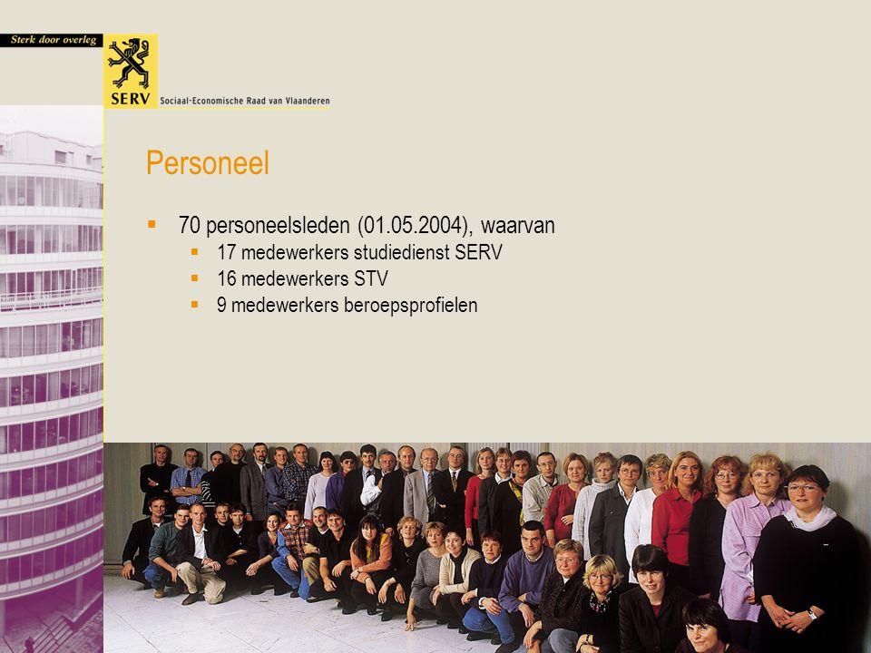 Lezing VUB Vlaams Overleg 19 mei 2005 49  70 personeelsleden (01.05.2004), waarvan  17 medewerkers studiedienst SERV  16 medewerkers STV  9 medewe