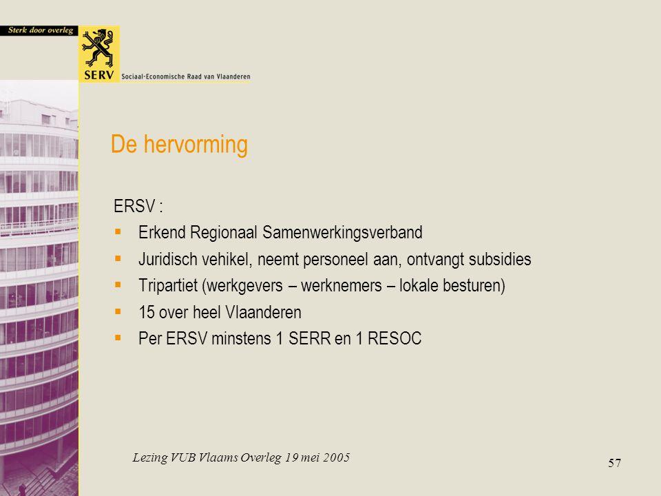 Lezing VUB Vlaams Overleg 19 mei 2005 57 De hervorming ERSV :  Erkend Regionaal Samenwerkingsverband  Juridisch vehikel, neemt personeel aan, ontvangt subsidies  Tripartiet (werkgevers – werknemers – lokale besturen)  15 over heel Vlaanderen  Per ERSV minstens 1 SERR en 1 RESOC