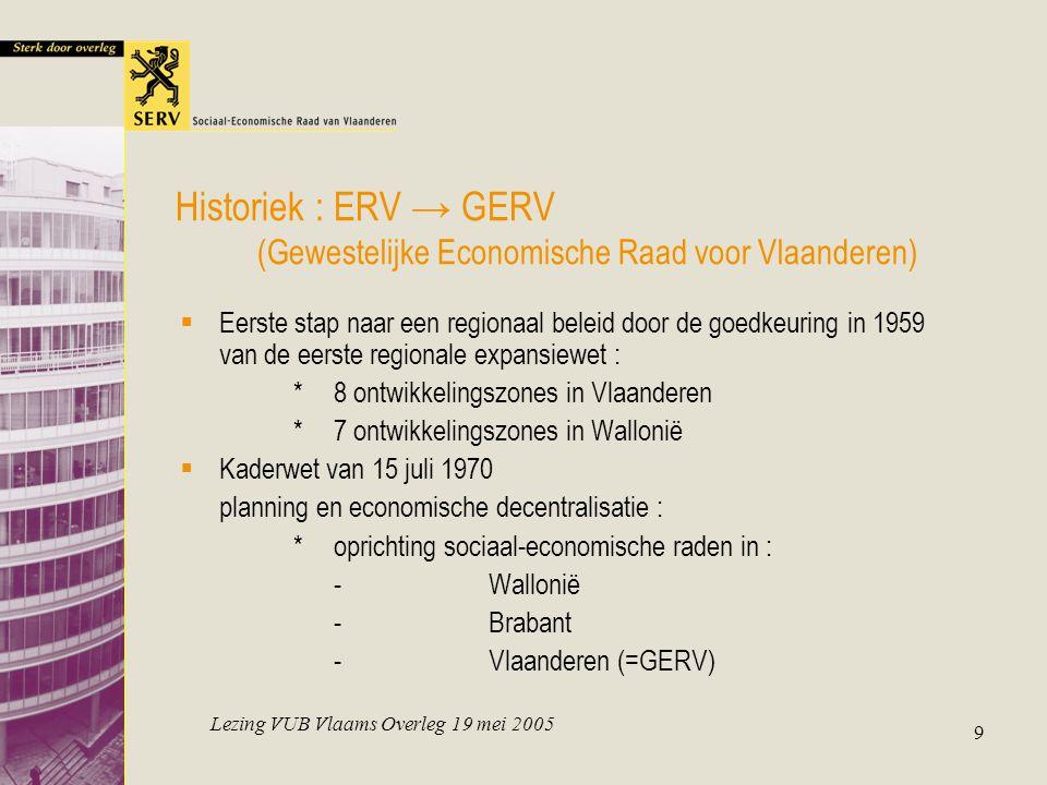 Lezing VUB Vlaams Overleg 19 mei 2005 9 Historiek : ERV → GERV (Gewestelijke Economische Raad voor Vlaanderen)  Eerste stap naar een regionaal beleid