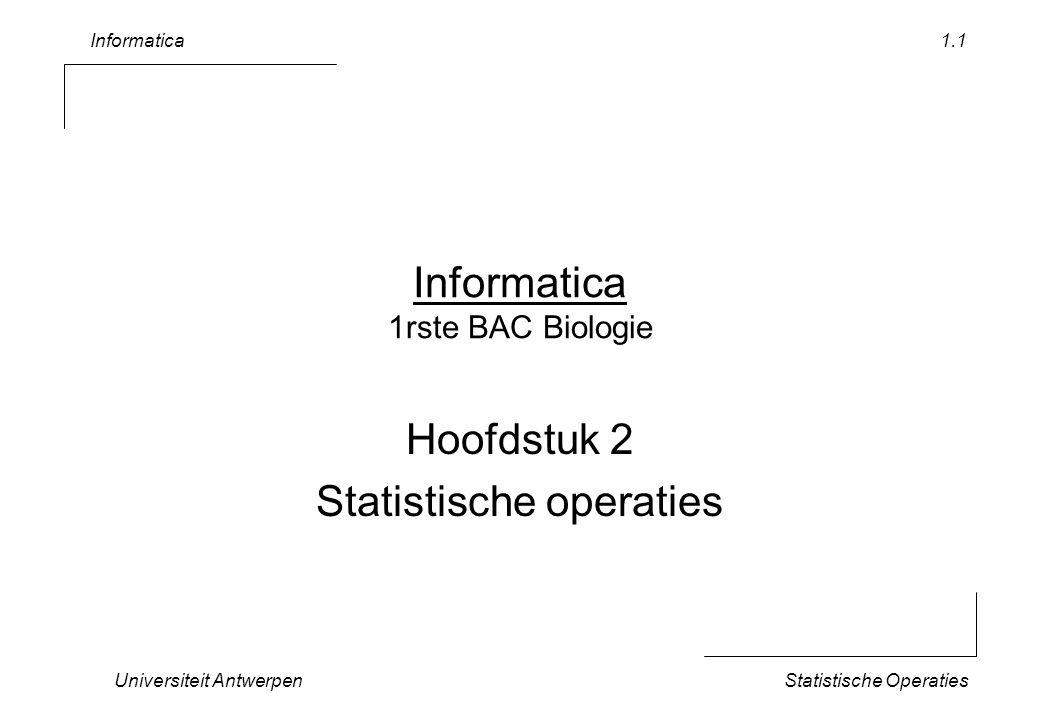 Informatica Universiteit AntwerpenStatistische Operaties 1.22 Conclusie Basisvaardigheden –Import/export –Creer Zip-file Statistische Vaardigheden –Sorteren en tellen –Controles en Robuustheid –Gemiddelde en standaard afwijking –Mediaan en kwartielen –Frequentiedistributie Huiswerk –Maak frequentiedistributie voor gewicht –Maak frequentiedistributie *per soort* voor de spanwijdte