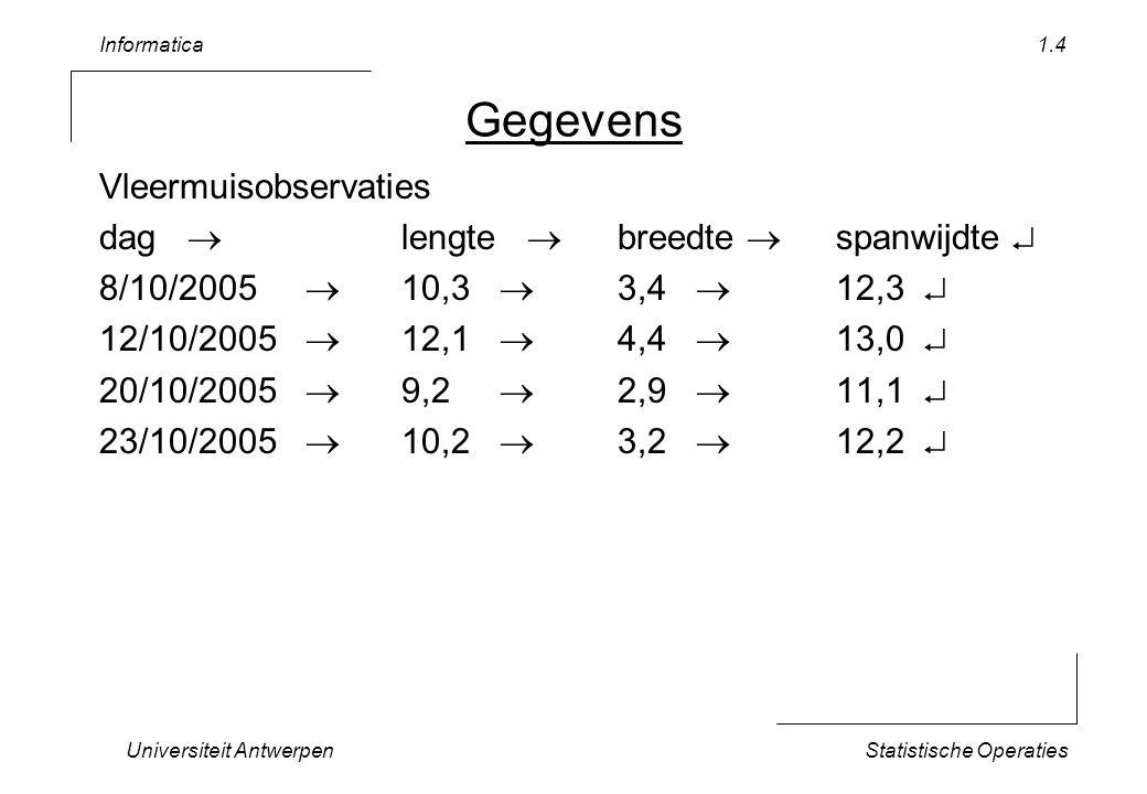 Informatica Universiteit AntwerpenStatistische Operaties 1.15 Robuustheid Voeg extra rij toe aan observaties –29/nov/04franjestaart257 Wat moet je allemaal aanpassen .