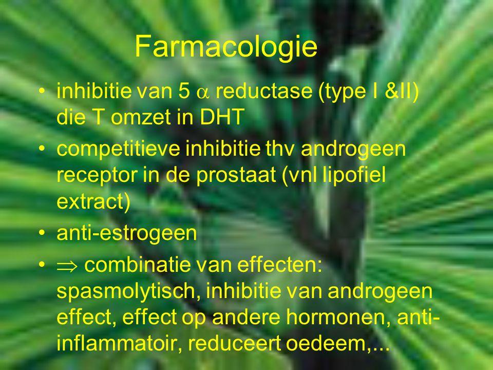 Farmacologie inhibitie van 5  reductase (type I &II) die T omzet in DHT competitieve inhibitie thv androgeen receptor in de prostaat (vnl lipofiel e