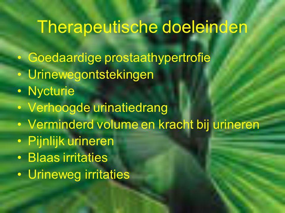 Therapeutische doeleinden Goedaardige prostaathypertrofie Urinewegontstekingen Nycturie Verhoogde urinatiedrang Verminderd volume en kracht bij urineren Pijnlijk urineren Blaas irritaties Urineweg irritaties