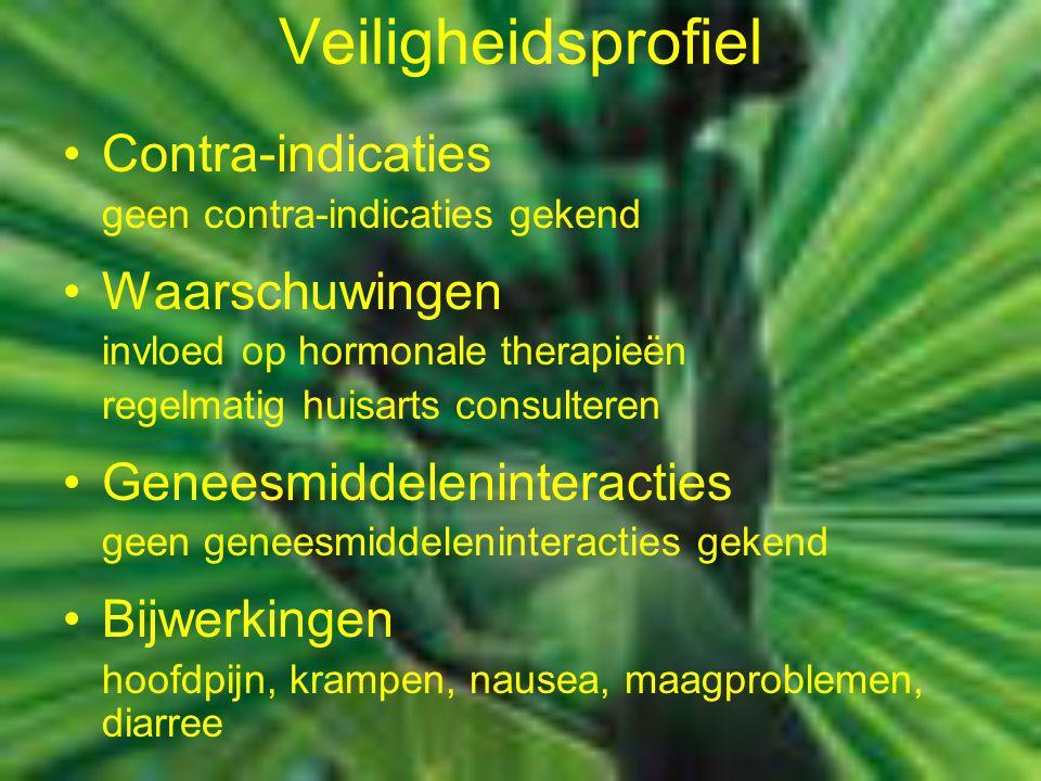 Veiligheidsprofiel Contra-indicaties geen contra-indicaties gekend Waarschuwingen invloed op hormonale therapieën regelmatig huisarts consulteren Gene