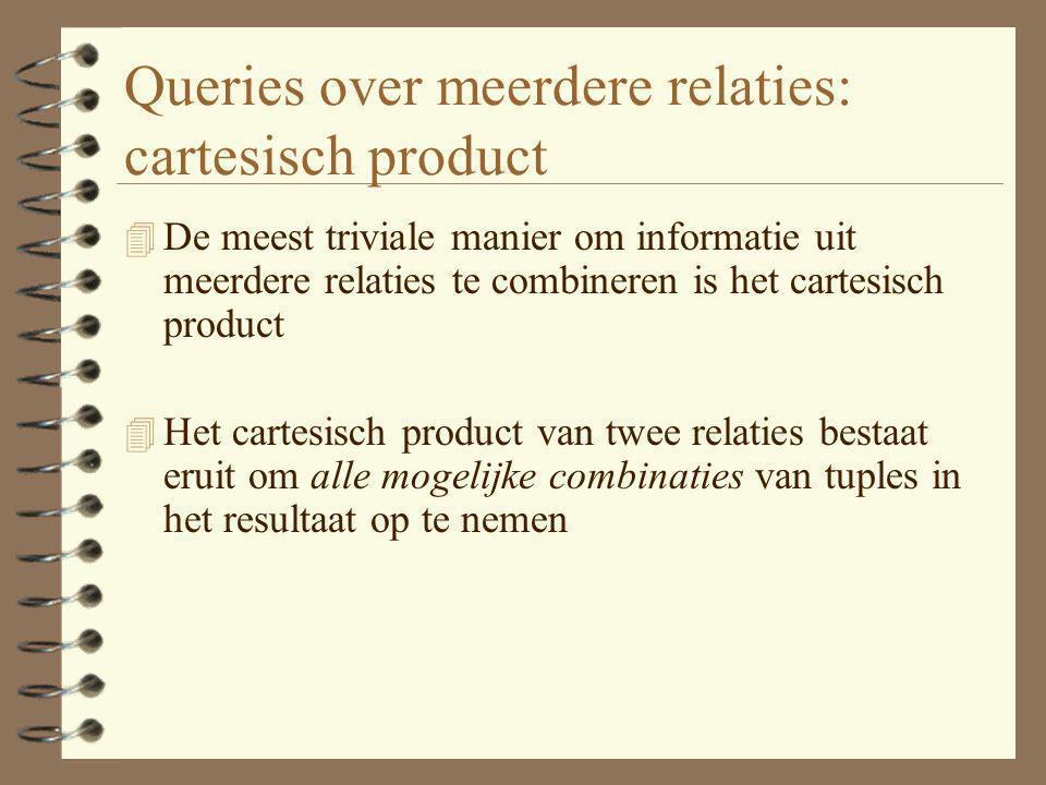 Queries over meerdere relaties: cartesisch product 4 De meest triviale manier om informatie uit meerdere relaties te combineren is het cartesisch prod