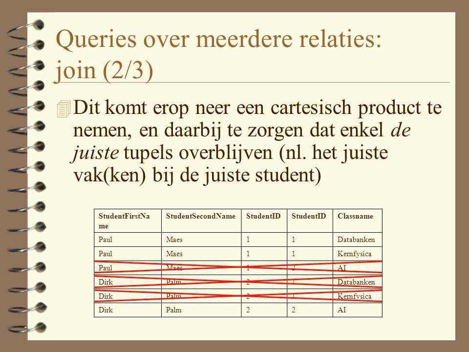 Queries over meerdere relaties: join (2/3) 4 Dit komt erop neer een cartesisch product te nemen, en daarbij te zorgen dat enkel de juiste tupels overb