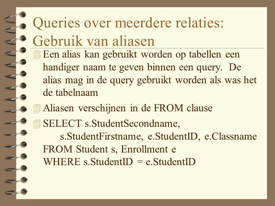 Queries over meerdere relaties: Gebruik van aliasen 4 Een alias kan gebruikt worden op tabellen een handiger naam te geven binnen een query. De alias