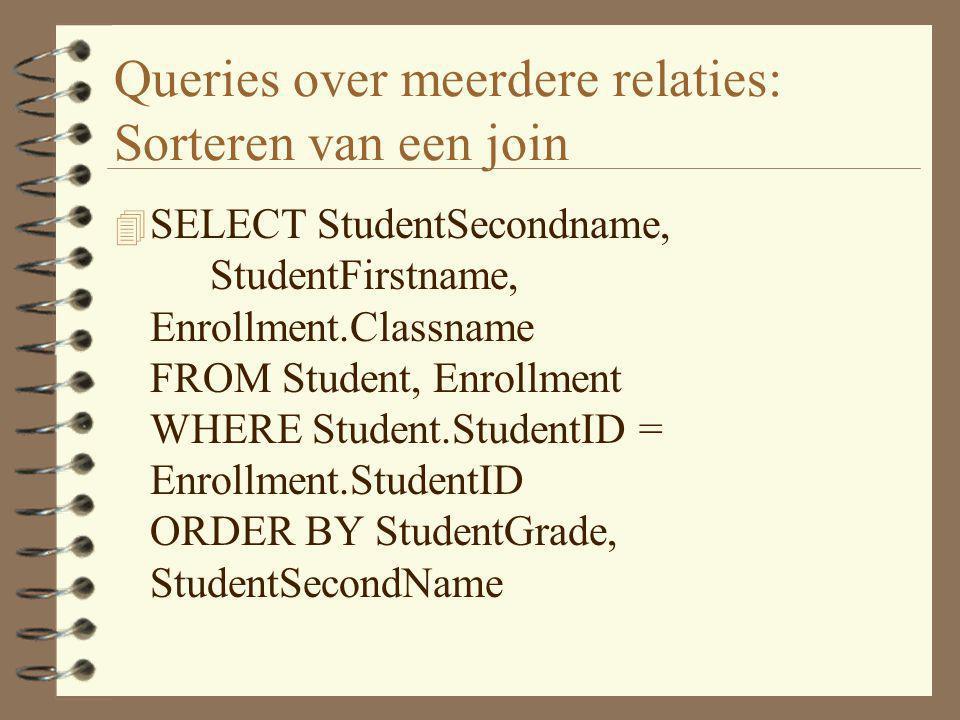 Queries over meerdere relaties: Sorteren van een join 4 SELECT StudentSecondname, StudentFirstname, Enrollment.Classname FROM Student, Enrollment WHER
