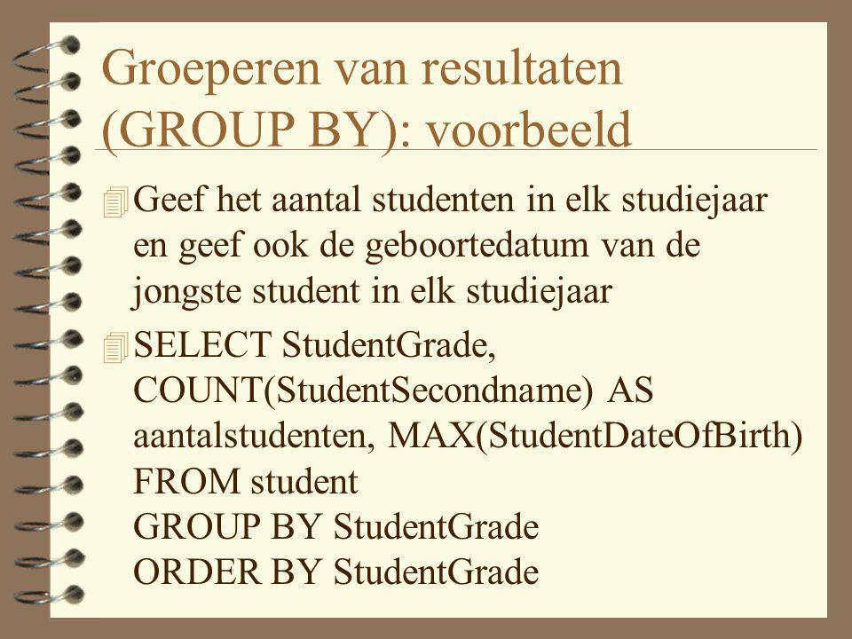 Groeperen van resultaten (GROUP BY): voorbeeld 4 Geef het aantal studenten in elk studiejaar en geef ook de geboortedatum van de jongste student in el