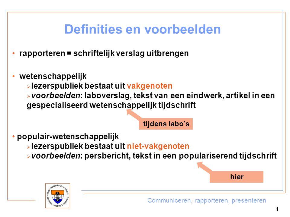 Communiceren, rapporteren, presenteren 4 Definities en voorbeelden rapporteren = schriftelijk verslag uitbrengen populair-wetenschappelijk  lezerspub