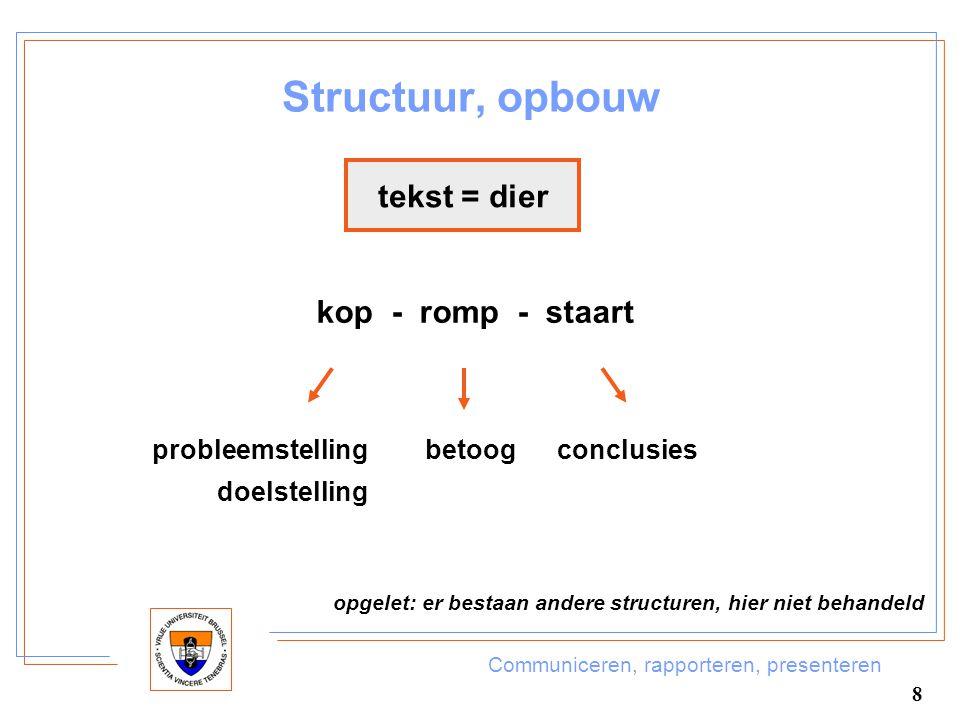 Communiceren, rapporteren, presenteren 8 Structuur, opbouw tekst = dier kop - romp - staart probleemstelling doelstelling betoog conclusies opgelet: e
