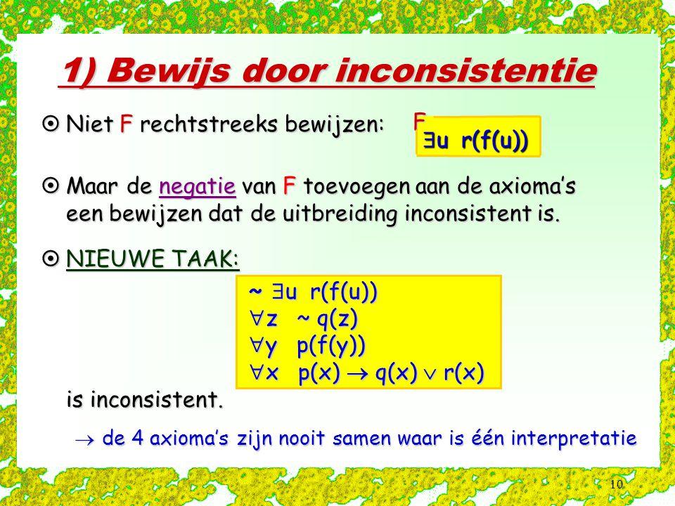 10 1) Bewijs door inconsistentie  u r(f(u)) F  Niet F rechtstreeks bewijzen:  Maar de negatie van F toevoegen aan de axioma's een bewijzen dat de u