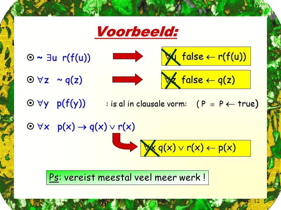 12 Voorbeeld: Ps: vereist meestal veel meer werk ! : is al in clausale vorm: ( P  P  true )  ~  u r(f(u))  u false  r(f(u))   z ~ q(z)  z fal