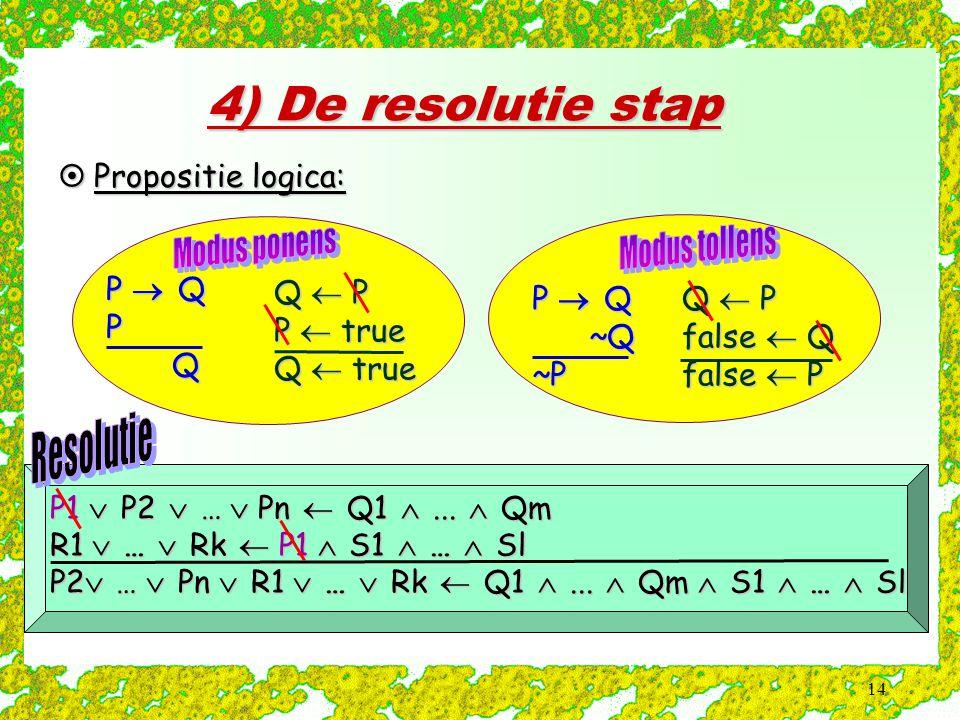 14 4) De resolutie stap  Propositie logica: P  Q P Q ~Q ~Q~P P1  P2  …  Pn  Q1 ...  Qm R1  …  Rk  P1  S1  …  Sl P2  …  Pn  R1  …  R