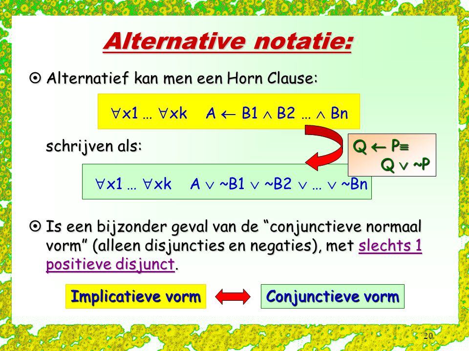 20 Alternative notatie: Implicatieve vorm Conjunctieve vorm  x1 …  xk A  B1  B2 …  Bn  x1 …  xk A  ~B1  ~B2  …  ~Bn  Alternatief kan men e