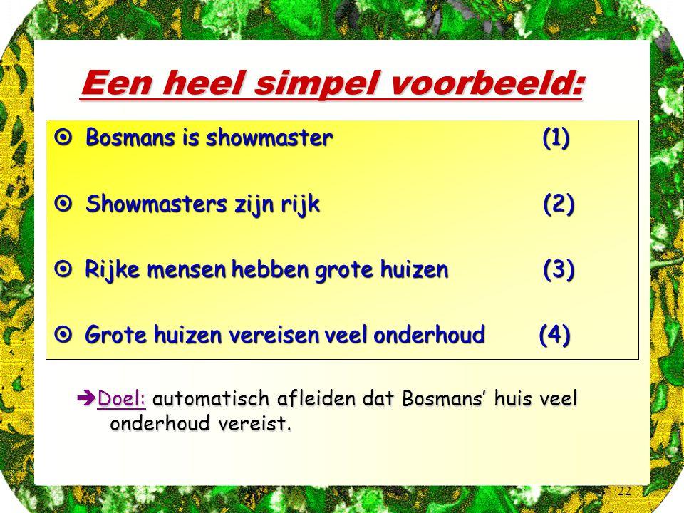 22 Een heel simpel voorbeeld:  Bosmans is showmaster (1)  Showmasters zijn rijk (2)  Rijke mensen hebben grote huizen (3)  Grote huizen vereisen v