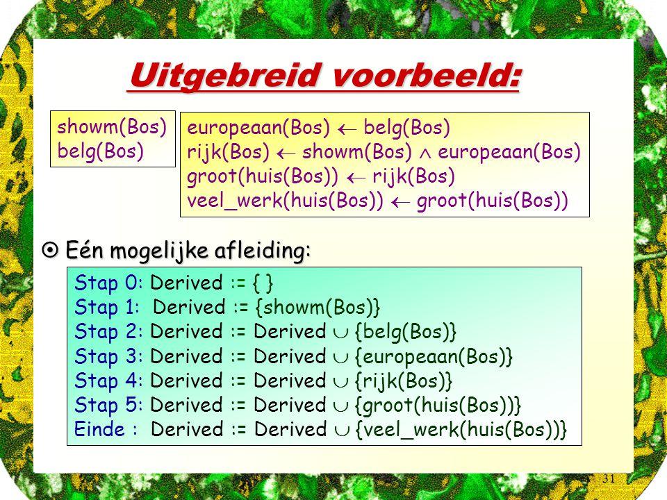 31 Uitgebreid voorbeeld:  Eén mogelijke afleiding: Stap 0: Derived := { } Stap 1: Derived := {showm(Bos)} Stap 2: Derived := Derived  {belg(Bos)} St
