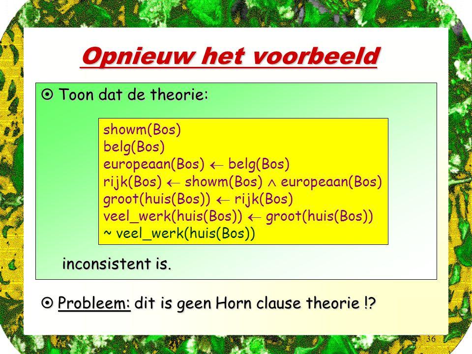 36 Opnieuw het voorbeeld  Toon dat de theorie: showm(Bos) belg(Bos) europeaan(Bos)  belg(Bos) rijk(Bos)  showm(Bos)  europeaan(Bos) groot(huis(Bos