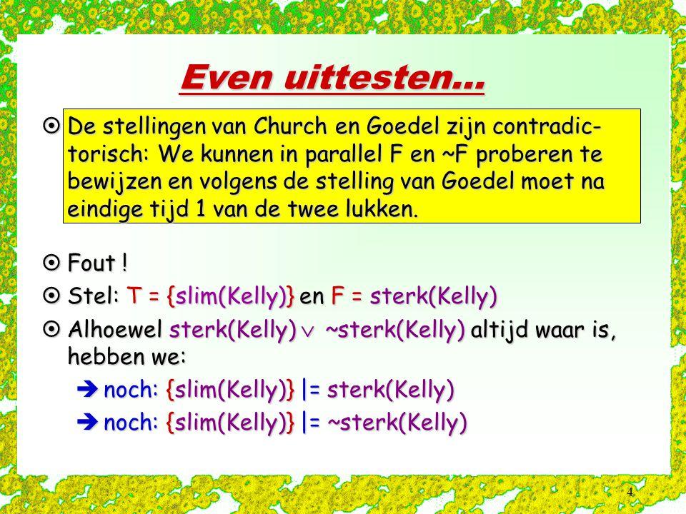 45 Opnieuw het voorbeeld Stap 0: Goal := false  veel_werk(huis(Bos)) select: veel_werk(huis(Bos))  groot(huis(Bos)) Stap 1: Goal := false  groot(huis(Bos)) select: groot(huis(Bos))  rijk(Bos) Stap 2: Goal := false  rijk(Bos) select: rijk(Bos)  showm(Bos)  europeaan(Bos) Stap 3: Goal := false  showm(Bos)  europeaan(Bos) select: showm(Bos) Stap 4: Goal := false  europeaan(Bos) select: europeaan(Bos)  belg(Bos) Stap 5: Goal := false  belg(Bos) select: belg(Bos) Stap 6: Goal := false 