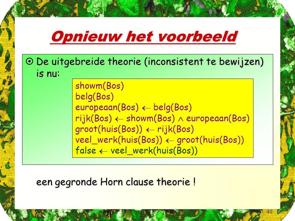 40 Opnieuw het voorbeeld  een gegronde Horn clause theorie ! showm(Bos) belg(Bos) europeaan(Bos)  belg(Bos) rijk(Bos)  showm(Bos)  europeaan(Bos)