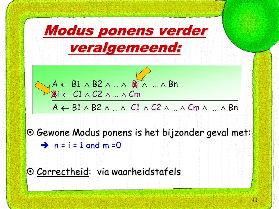 41 Modus ponens verder veralgemeend:  Gewone Modus ponens is het bijzonder geval met:  n = i = 1 and m =0  Correctheid: via waarheidstafels A  B1
