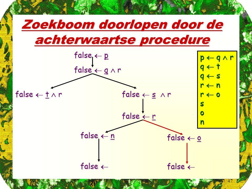 47 Zoekboom doorlopen door de achterwaartse procedure p  q  r q  t q  s r  n r  o son false  p false  q  r false  t  r false  s  r false