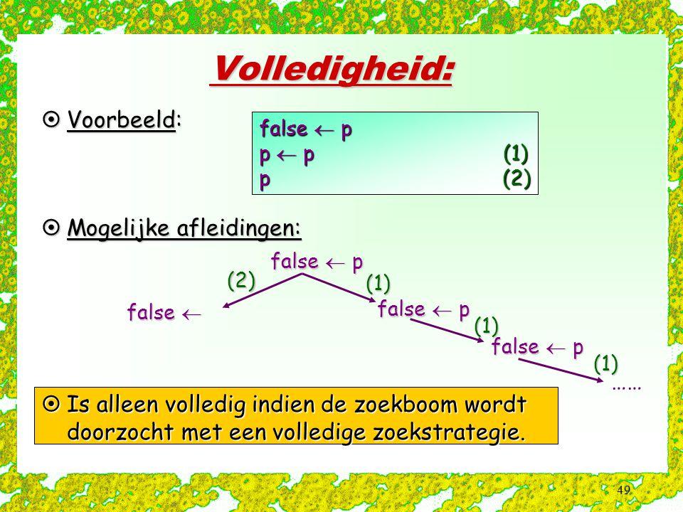 49 Volledigheid:  Voorbeeld: false  p p  p (1) p (2)  Mogelijke afleidingen: false  p (1) (1) ……(1) false  (2)  Is alleen volledig indien de zo