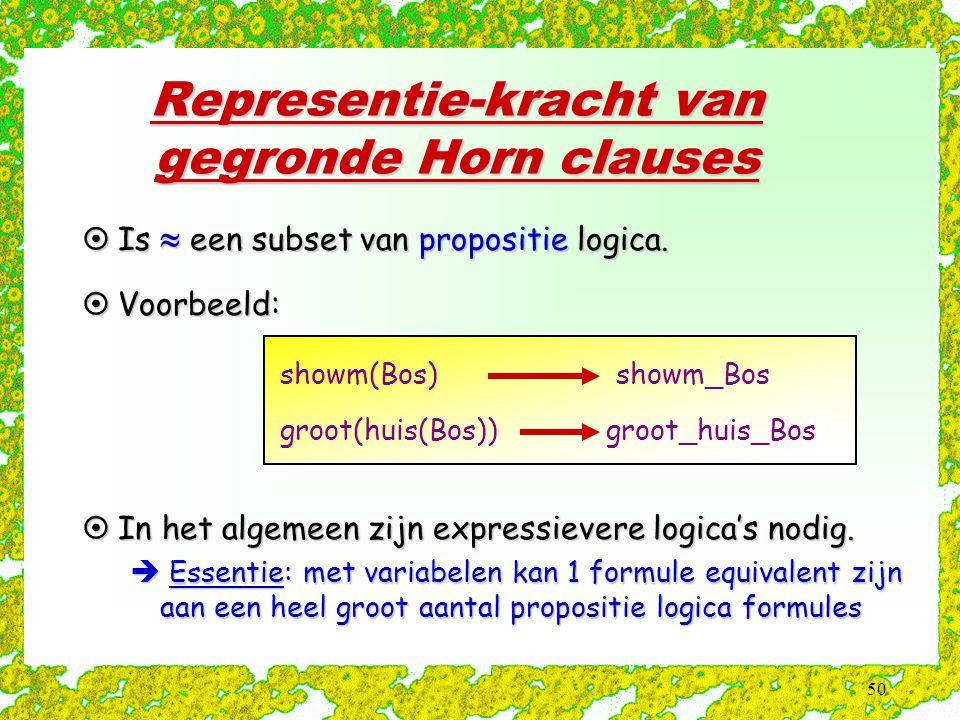 50 Representie-kracht van gegronde Horn clauses  Is  een subset van propositie logica. showm(Bos) showm_Bos groot(huis(Bos)) groot_huis_Bos  Voorbe