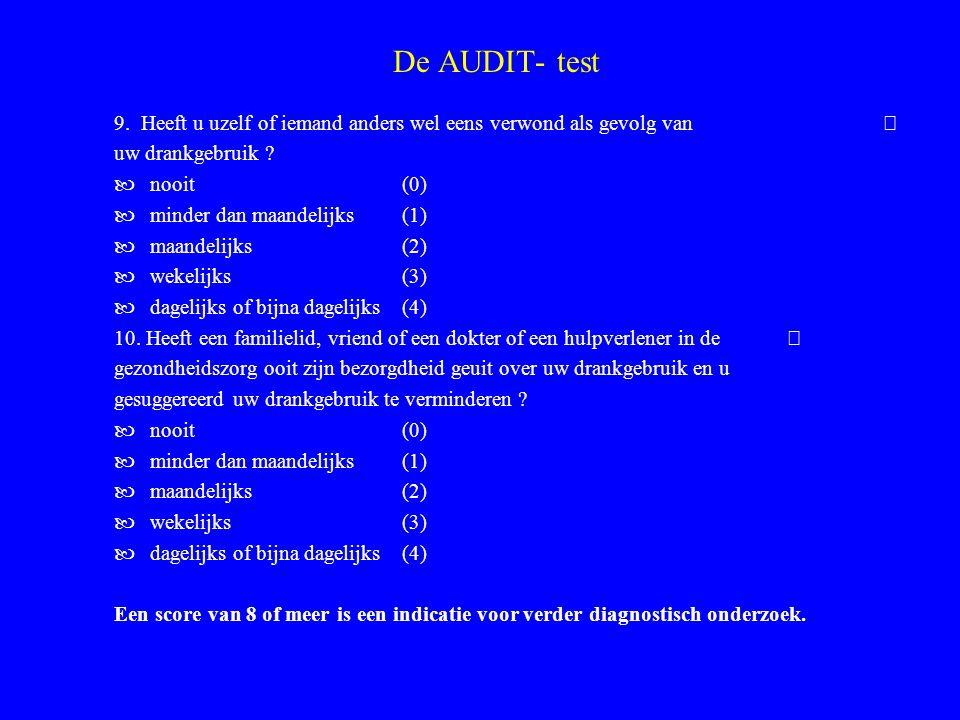 De AUDIT- test 9.Heeft u uzelf of iemand anders wel eens verwond als gevolg van uw drankgebruik .