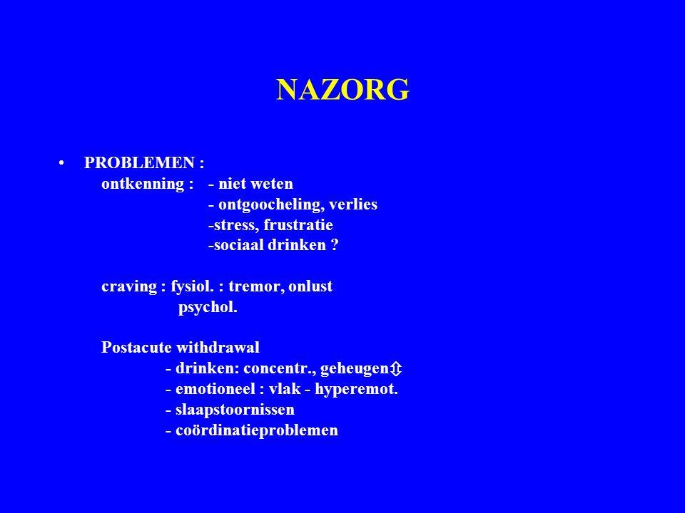 NAZORG PROBLEMEN : ontkenning : - niet weten - ontgoocheling, verlies -stress, frustratie -sociaal drinken ? craving : fysiol. : tremor, onlust psycho