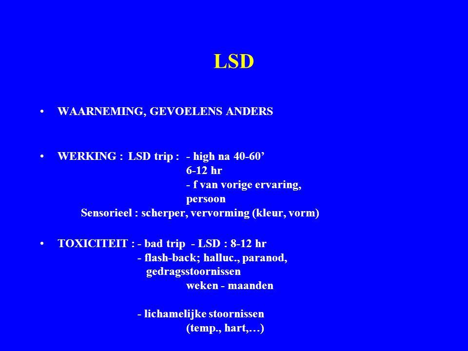 LSD WAARNEMING, GEVOELENS ANDERS WERKING : LSD trip : - high na 40-60' 6-12 hr - f van vorige ervaring, persoon Sensorieel : scherper, vervorming (kleur, vorm) TOXICITEIT :- bad trip - LSD : 8-12 hr - flash-back; halluc., paranod, gedragsstoornissen weken - maanden - lichamelijke stoornissen (temp., hart,…)