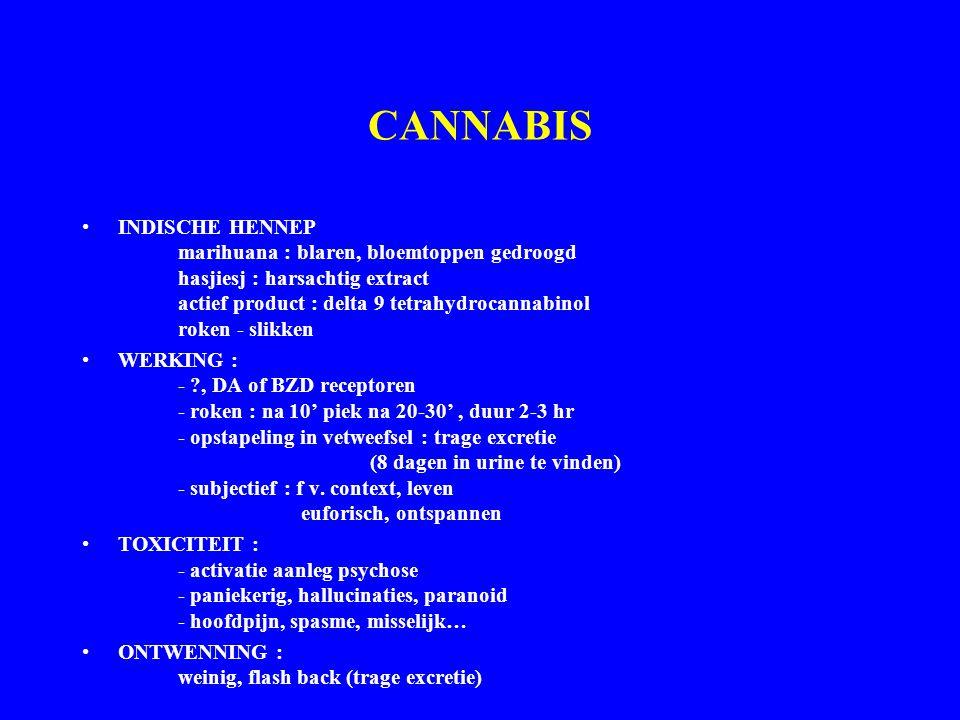 CANNABIS INDISCHE HENNEP marihuana : blaren, bloemtoppen gedroogd hasjiesj : harsachtig extract actief product : delta 9 tetrahydrocannabinol roken - slikken WERKING : - ?, DA of BZD receptoren - roken : na 10' piek na 20-30', duur 2-3 hr - opstapeling in vetweefsel : trage excretie (8 dagen in urine te vinden) - subjectief : f v.