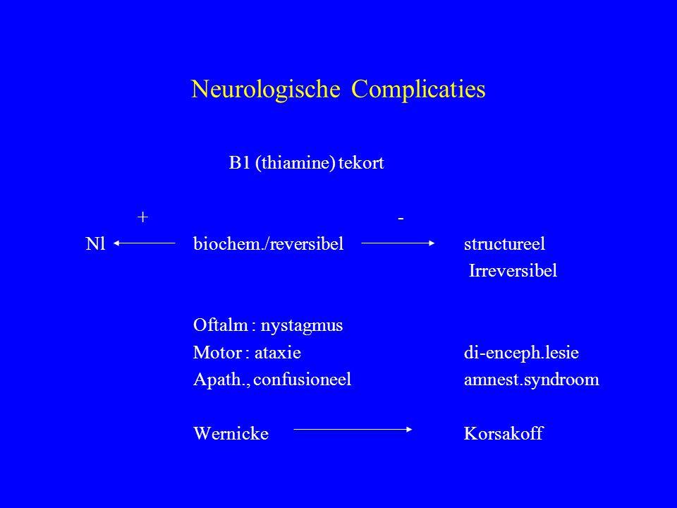 Neurologische Complicaties B1 (thiamine) tekort + - Nl biochem./reversibel structureel Irreversibel Oftalm : nystagmus Motor : ataxiedi-enceph.lesie Apath., confusioneelamnest.syndroom Wernicke Korsakoff