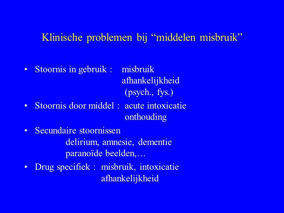 """Klinische problemen bij """"middelen misbruik"""" Stoornis in gebruik : misbruik afhankelijkheid (psych., fys.) Stoornis door middel : acute intoxicatie ont"""