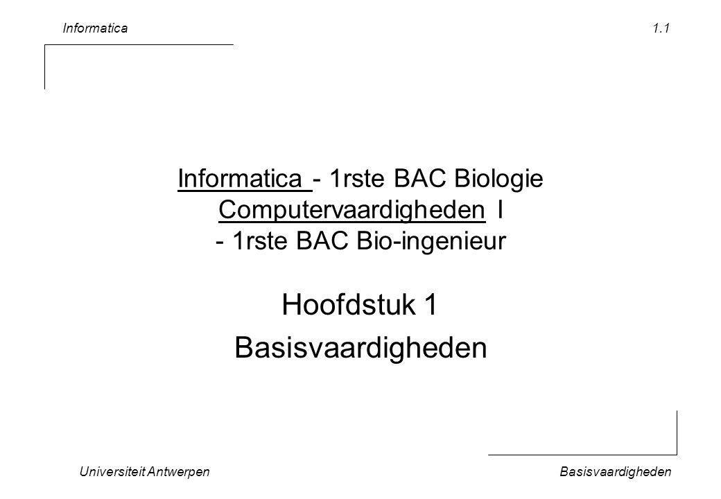 Informatica Universiteit AntwerpenBasisvaardigheden 1.1 Informatica - 1rste BAC Biologie Computervaardigheden I - 1rste BAC Bio-ingenieur Hoofdstuk 1 Basisvaardigheden