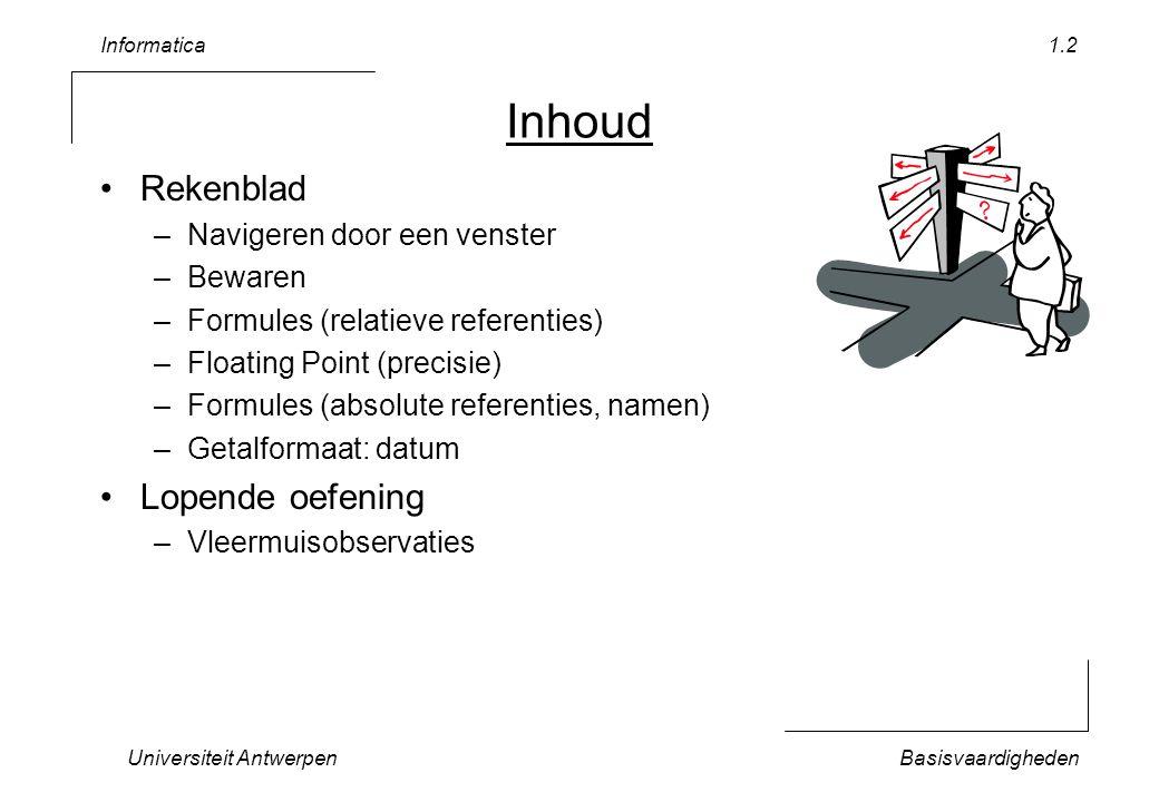 Informatica Universiteit AntwerpenBasisvaardigheden 1.2 Inhoud Rekenblad –Navigeren door een venster –Bewaren –Formules (relatieve referenties) –Floating Point (precisie) –Formules (absolute referenties, namen) –Getalformaat: datum Lopende oefening –Vleermuisobservaties