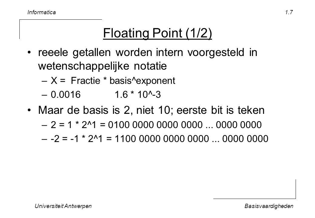 Informatica Universiteit AntwerpenBasisvaardigheden 1.7 Floating Point (1/2) reeele getallen worden intern voorgesteld in wetenschappelijke notatie –X = Fractie * basis^exponent –0.00161.6 * 10^-3 Maar de basis is 2, niet 10; eerste bit is teken –2 = 1 * 2^1 = 0100 0000 0000 0000...