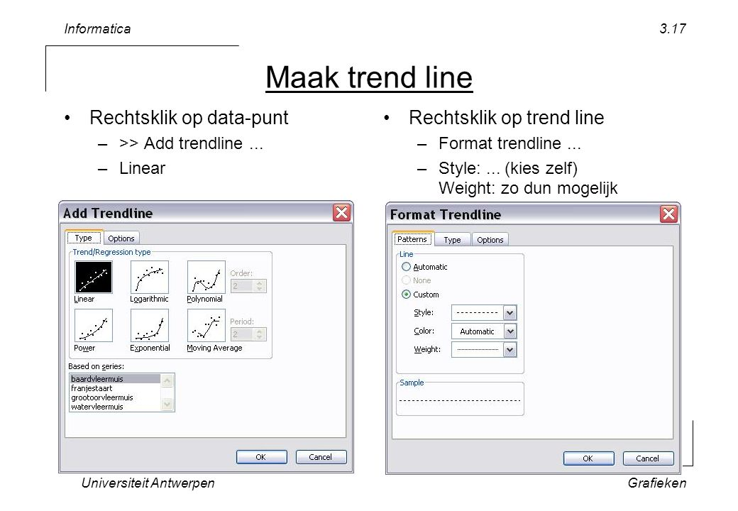 Informatica Universiteit AntwerpenGrafieken 3.17 Maak trend line Rechtsklik op data-punt –>> Add trendline... –Linear Rechtsklik op trend line –Format